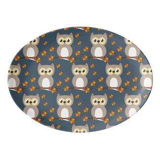 Niedliches Herbst-Eulen-Muster Porzellan Servierplatte