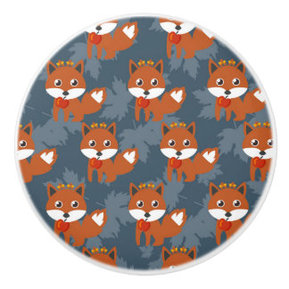 Niedliches Herbstfox-Muster Keramikknauf