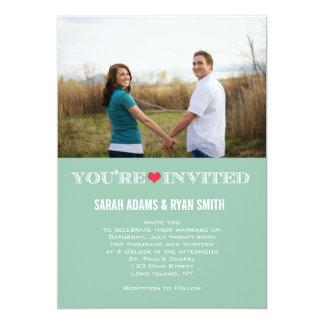 Niedliches Herz-Grün-rote 12,7 X 17,8 Cm Einladungskarte