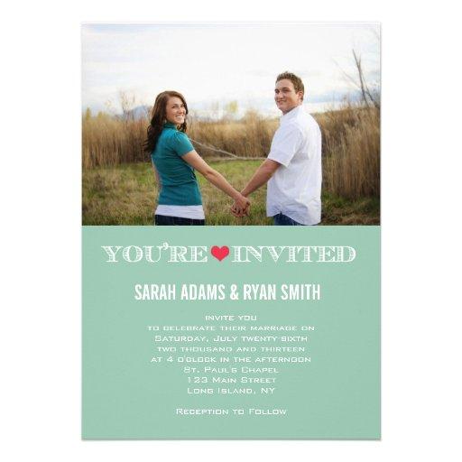 Niedliches Herz-Grün-rote Hochzeits-Foto-Einladung