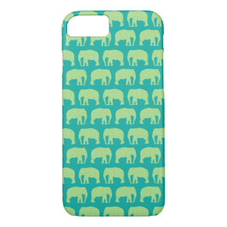 Niedliches Hipster-Elefant-Muster-aquamarines Grün iPhone 7 Hülle