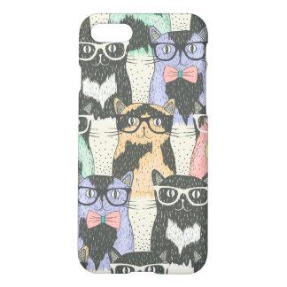 Niedliches Hipster-Katzen-Muster iPhone 7 Hülle