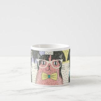 Niedliches Hipster-Katzen-Muster Espressotassen
