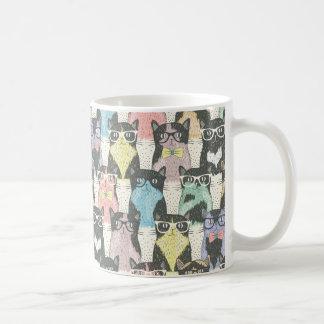 Niedliches Hipster-Katzen-Muster Kaffeetasse