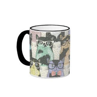 Niedliches Hipster-Katzen-Muster Ringer Tasse