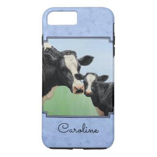 Niedliches Holsteinkalb-u. -kuh-Himmel-Blau iPhone 8 Plus/7 Plus Hülle
