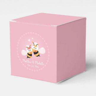 Niedliches Honig-Bienen-Paar-Rosa-Hochzeits-Party Geschenkschachtel