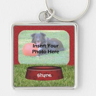 Niedliches Hundeschüssel-Entwurfs-Haustier-Foto Schlüsselanhänger