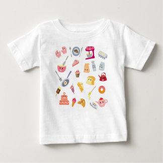 Niedliches Ikonen-Set der Bäckereigetränke- und Baby T-shirt