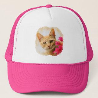 Niedliches Ingwer-Katzen-Kätzchen-aufpassende Truckerkappe