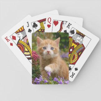 Niedliches Ingwerkätzchen in einem Garten Spielkarten
