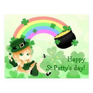 Niedliches irisches chibi Koboldmädchen mit Topf Postkarte