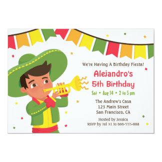 Niedliches Jungen-und Trompete-mexikanisches 12,7 X 17,8 Cm Einladungskarte