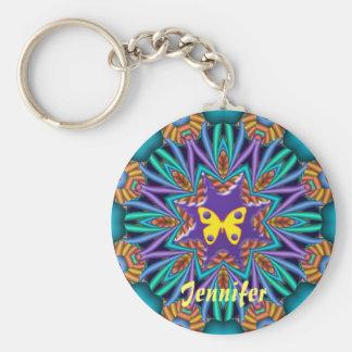 Niedliches Kaleidoskop Ketchain mit Namen u. Schme Standard Runder Schlüsselanhänger