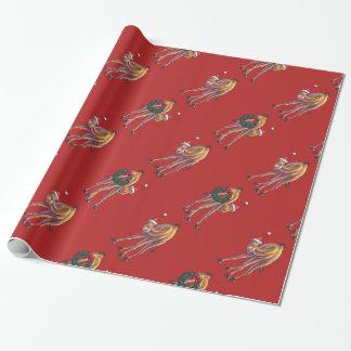 Niedliches Kamel-Weihnachten auf Rot Geschenkpapierrolle