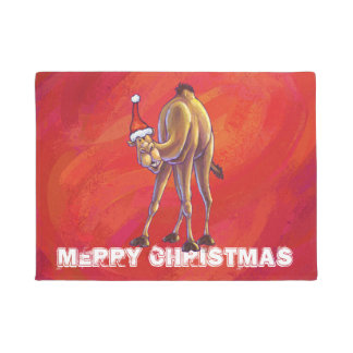 Niedliches Kamel-Weihnachten auf Rot Türmatte