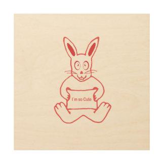Niedliches Kaninchen mit niedlicher Text-Fahne I m Holzwanddeko