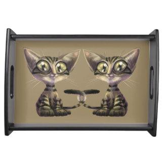 Niedliches Karikatur-Katzen-Serviertablett Tablett