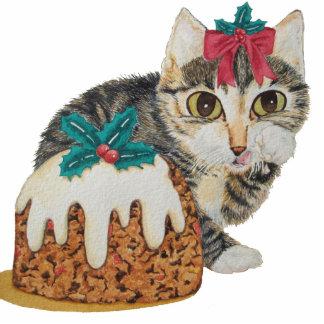 niedliches Kätzchen grauer Tabby, der Fotoskulptur Ornament