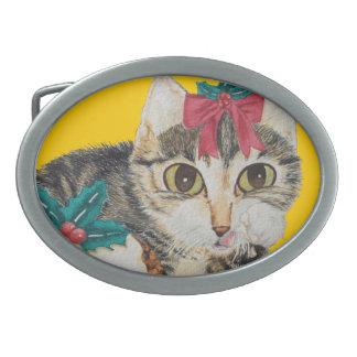 niedliches Kätzchen grauer Tabby, der Ovale Gürtelschnalle