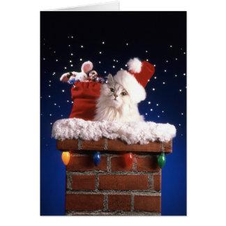 Niedliches Kätzchen mit Weihnachtsmannmütze Karte
