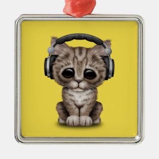 Niedliches Kätzchen-tragende Kopfhörer Quadratisches Silberfarbenes Ornament