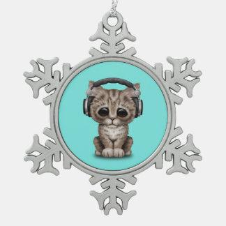 Niedliches Kätzchen-tragende Kopfhörer Schneeflocken Zinn-Ornament