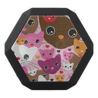 niedliches Kätzchenkatzen-Hintergrundmuster Schwarze Bluetooth Lautsprecher