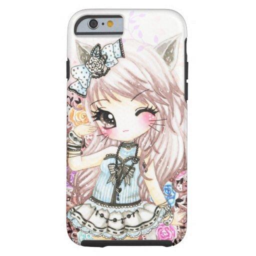 Niedliches Katzenmädchen in lolita Art Tough iPhone 6 Hülle