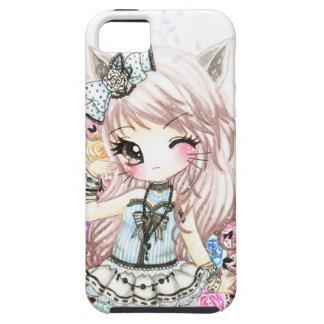 Niedliches Katzenmädchen in lolita Art iPhone 5 Case