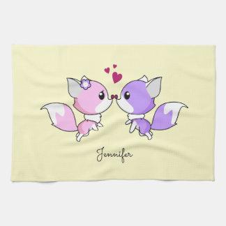 Niedliches kawaii foxes Cartoon in rosa und in Küchentuch