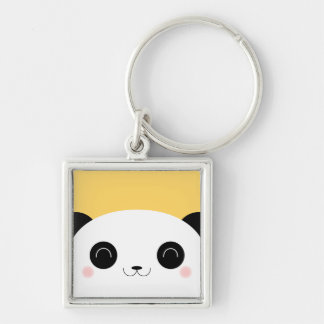 Niedliches Kawaii Peekaboo-Panda-Gesicht Silberfarbener Quadratischer Schlüsselanhänger