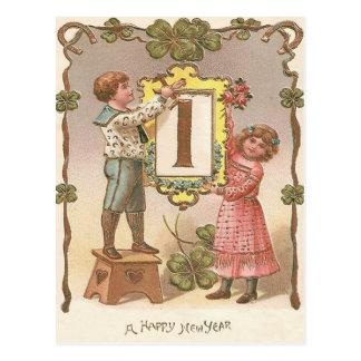 Niedliches Kindervierblättriges Kleeblatt Hufeisen Postkarte