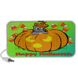 Niedliches Kitty-Halloween-Kürbis-Gekritzel Lautsprecher
