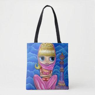 Niedliches kleines Genie-Mädchen u. Magie-Flasche Tasche