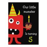 Niedliches kleines Monster-Kindergeburtstag-Party Individuelle Einladungskarten