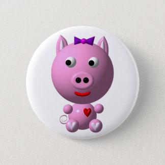 Niedliches kleines piggy mit Herzen und Bogen! Runder Button 5,1 Cm