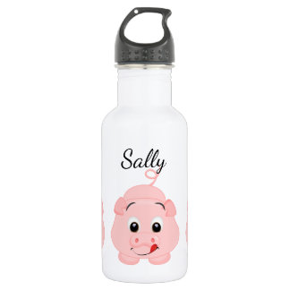 Niedliches kleines rosa Piggy personalisiertes Edelstahlflasche