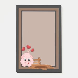 Niedliches kleines rosa Piggy Post-it Klebezettel