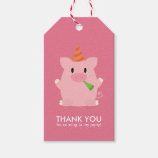 Niedliches kleines Schwein-Kindergeburtstag-Party Geschenkanhänger