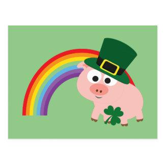 Niedliches Kobold-Schwein Postkarte