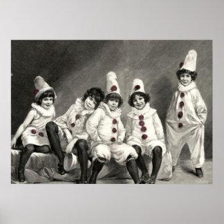 Niedliches Kostüm Kinderclown-Kunst-Friedrich Kaul Posterdruck