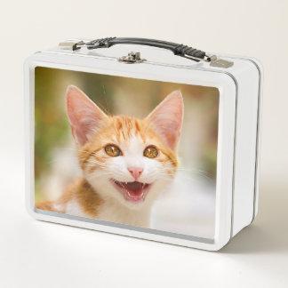 Niedliches lächelndes Kätzchen-Gesicht - lustiges Metall Lunch Box