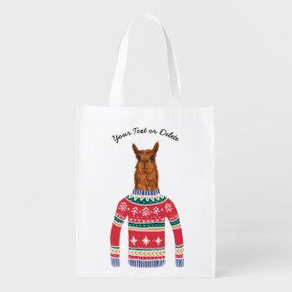 Niedliches Lama, das lustige hässliche Wiederverwendbare Einkaufstasche