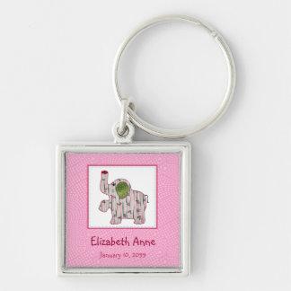 Niedliches Land-Art-rosa Elefant-neues Baby Silberfarbener Quadratischer Schlüsselanhänger