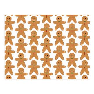 Niedliches Lebkuchen-Mann-Muster Postkarte