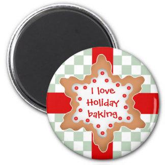 Niedliches Liebe-Feiertagsbacken des Weihnachtsste Runder Magnet 5,1 Cm