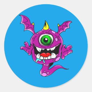 Niedliches lila Leute-Esser-Monster Runder Aufkleber
