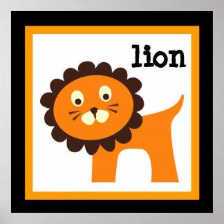 Niedliches Löwe-Safari-Tier-Baby-Kinderzimmer Poster