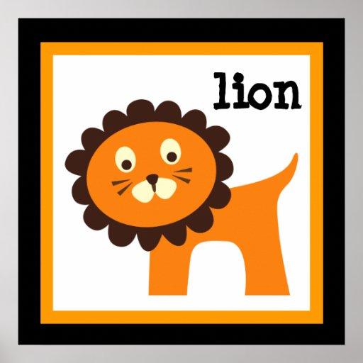 Niedliches Löwe-Safari-Tier-Baby-Kinderzimmer sche Plakatdrucke